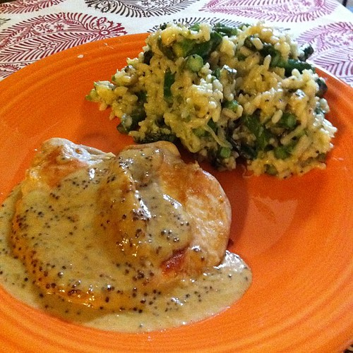 Chicken with Mustard Cream Sauce & Roasted Asparagus Risotto #wfd