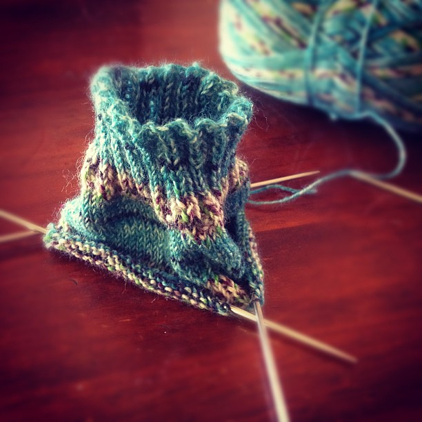 Attempting my first knitted sock.