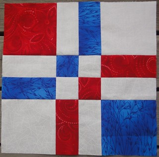 Red, white and blue block