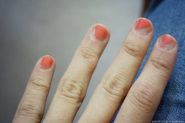 chipping coral nails