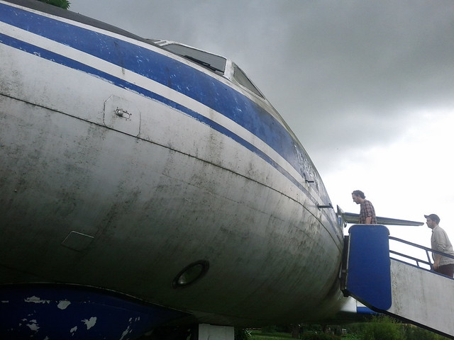 There's a plane in the garden