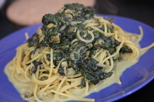 Creamed Chard, Spinach, and Beet Greens with Spaghetti