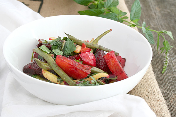 Roasted Beet, Green Bean, and Beet Top Salad in a Honey Vinaigrette