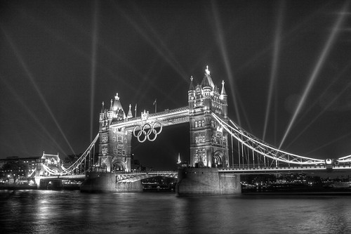 Spotlights on Tower Bridge for Olympics rehearsals