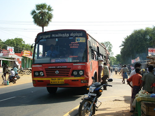 Ashok Leyland bus near Pondicherry