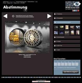 Abstimmungsseite für PR-Bild Award 2012