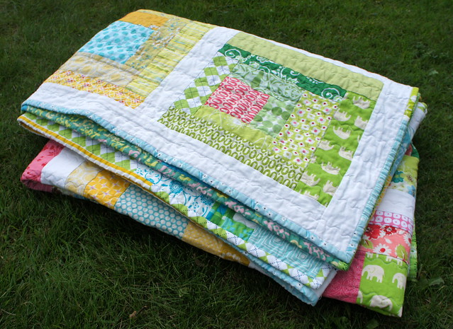 Sherbet Log Cabin Quilt - scrappy binding
