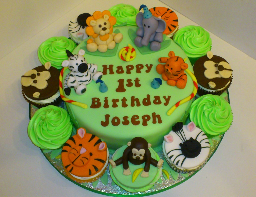 Jungle Theme 1st Birthday Cake A Photo On Flickriver