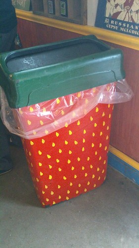 Strawberry trash can