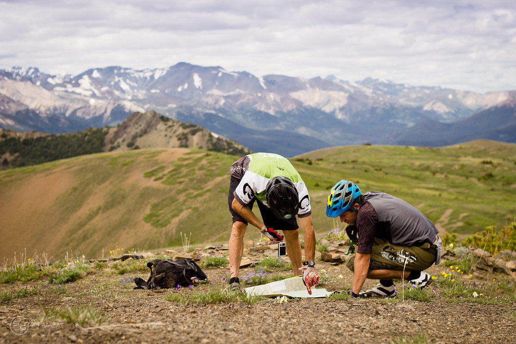 David Reid & Declan Wolfe check the map for the Chilcotins
