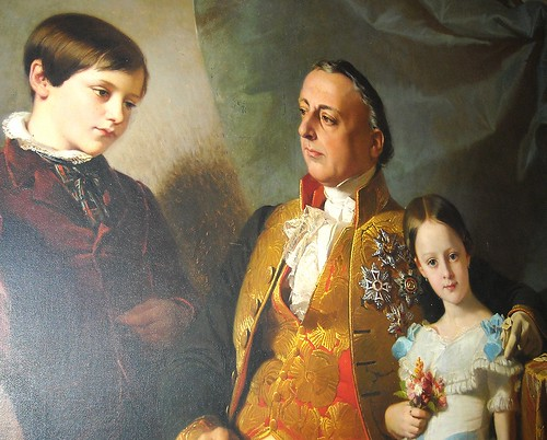 "Detail - ""Prince Vincenzo Ruffo and his sons"" - oil on canvas (1852) signed Edouard Dubufe (Paris 1819-Versailles 1883) - San Martino Museum in Naples"