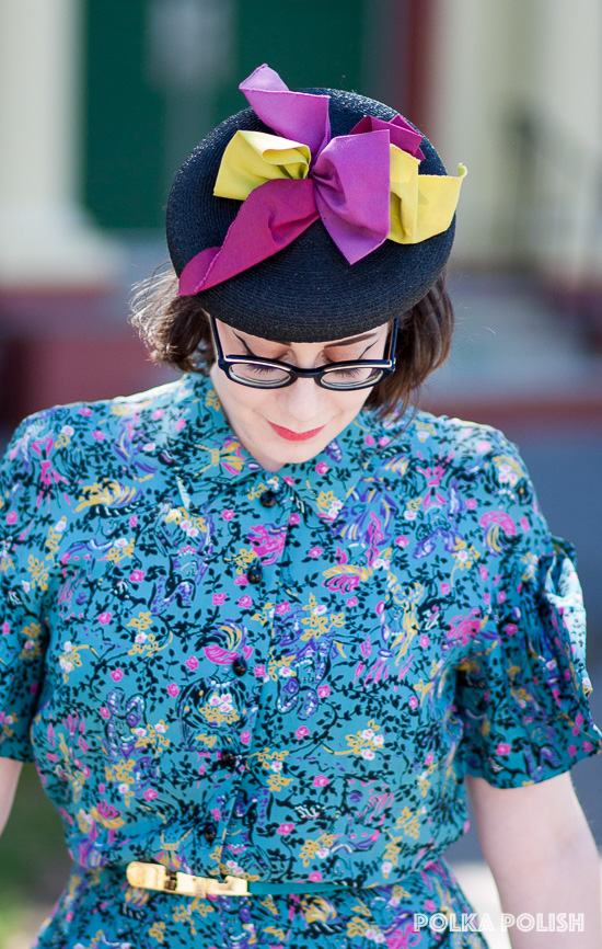Hannah's amazing tilt hat with its perfectly 40s chartreuse and raspberry ribbons was a lucky flea market score