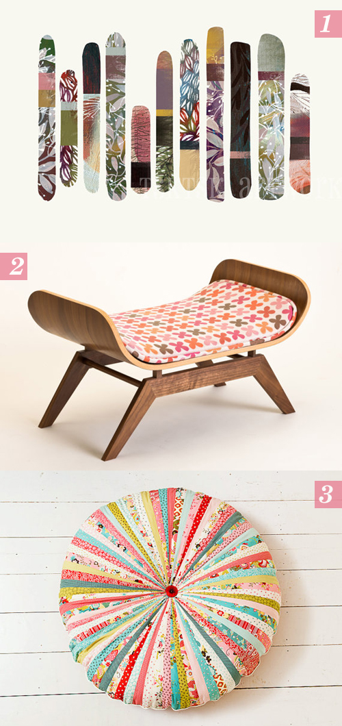 Etsy finds: 1. nature sticks by Tsk Tsk Art, 2. Canopy lounge by Canopy Studio, 3. Large Whimsical Floor Cushion by Big Bird's Boutique