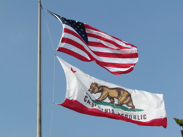 US National Flag and California State Flag, City Hall, Santa Monica from Flickr via Wylio