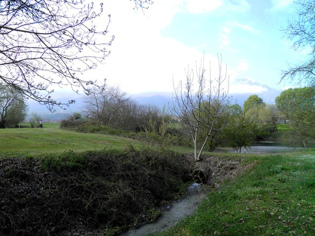 The sacred springs of Ancient Dion with Mount Olympus in the background, Dion