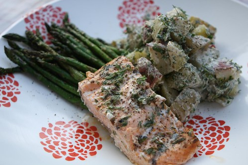 """Grilled"" Salmon and Asparagus with Buttermilk Ranch Potato Salad"