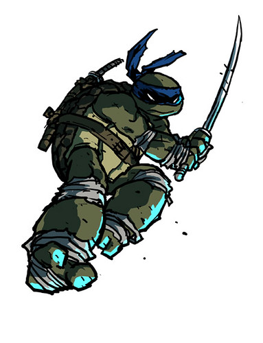 "IDW :: Teenage Mutant Ninja Turtles MICRO-SERIES #4; LEONARDO // ""LEO 4"" ..concept art by Ross Campbell (( 2012 ))"