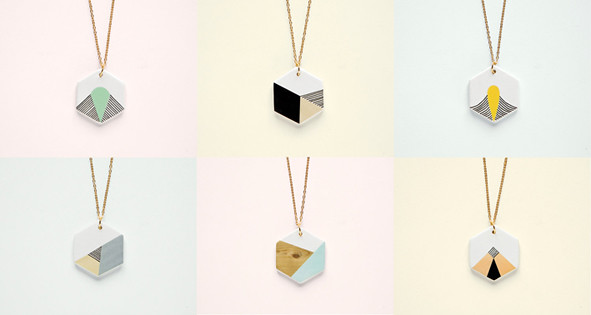 hexagon necklaces