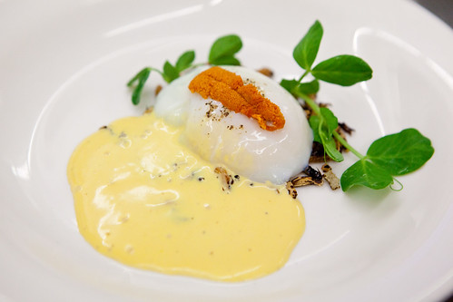 Chef Shaun Hergatt plated second poached egg dish: 64 degree slow poached egg with crunchy black wild rice with uni foam and uni