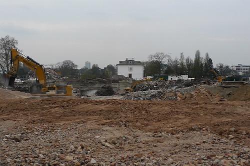 Baustelle ehemaliges Desgussa Gelände Frankfurter Innenstadt April 2012