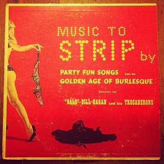 "Looking through my albums for the show tomorrow. This used to belong to my Grandma Charlotte. ""Music to Strip by"" (thanks, Grandma!) @mandydphoto"