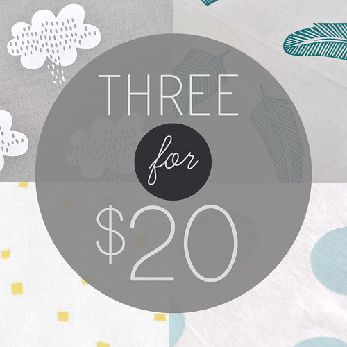 3 for $20 handprinted fabric panels