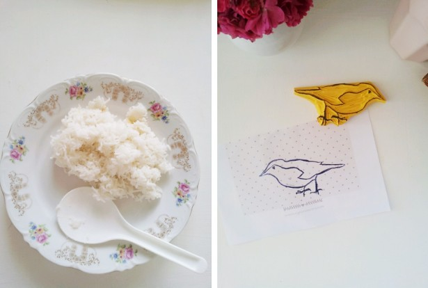 rice and a handcarved birdstamp