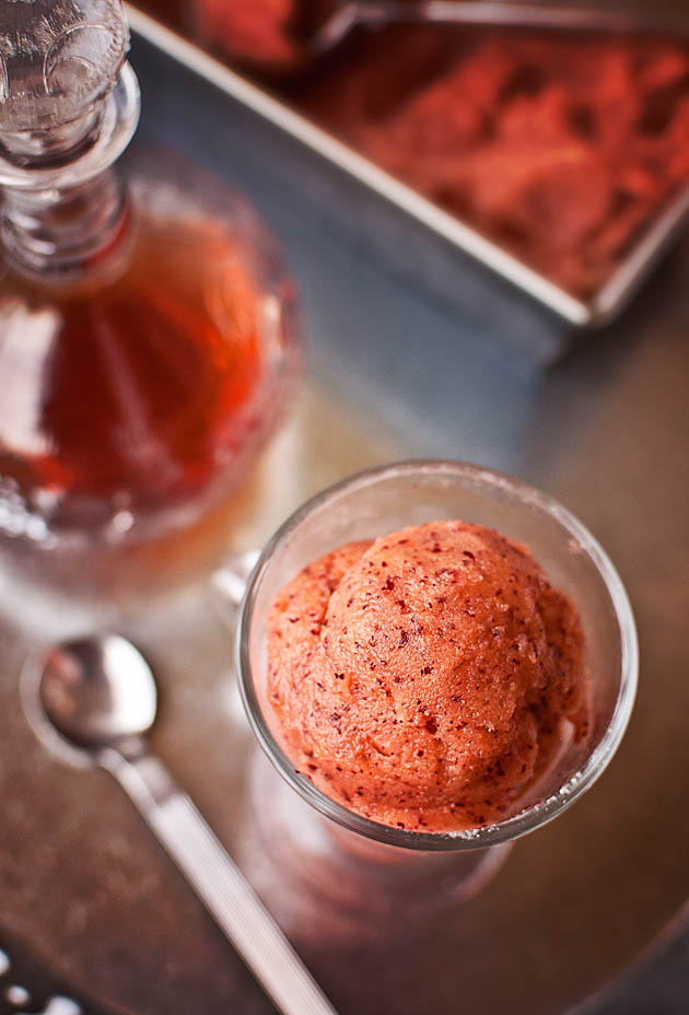 Plum sorbet with pacharán