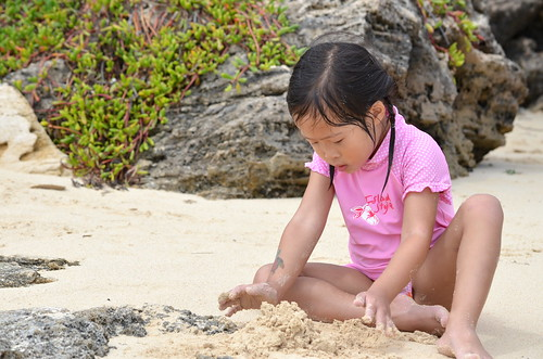 Aki playing in the sand