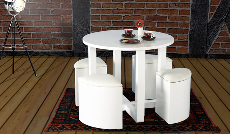 TABLE REPAS RONDE DESIGN STAFFORD LAQUE BLANC + 4 POUFS NEUF