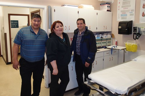 US Consul Tim Cipullo with Vincent Henderson (Hospital Health Administrator) & Carlynn Halcrowe (Hospital Nurse-in-Charge) at the Norway House hospital emergency room