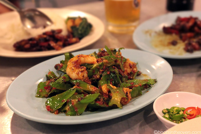 Prawns with belacan and wing beans and