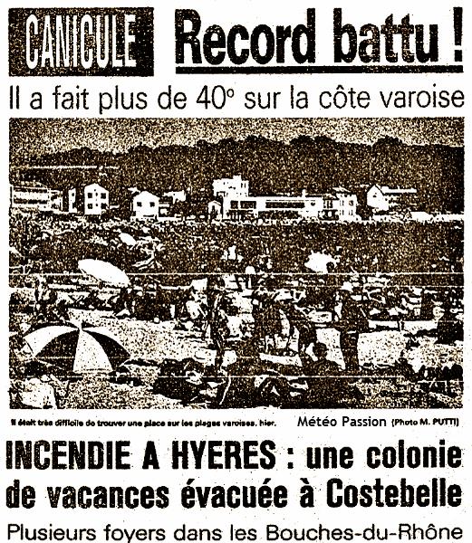 article sur les records de chaleur dans le Var le 7 juillet 1982 météopassion