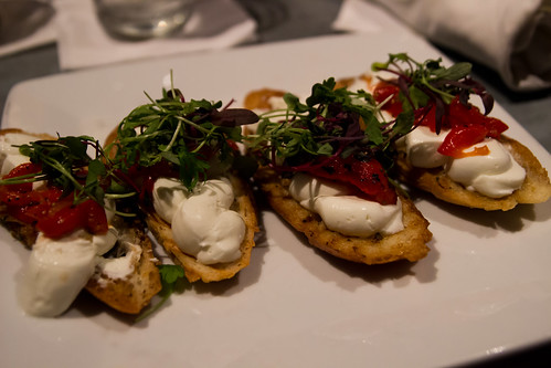 Goat Cheese and Red Pepper Bruschetta at Braddock's American Brasserie Streetside Bar