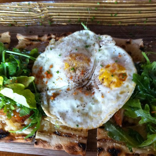 {Day 8} #lunch {brunch} Flatbread with studios, pork belly, fried egg, and white cheddar