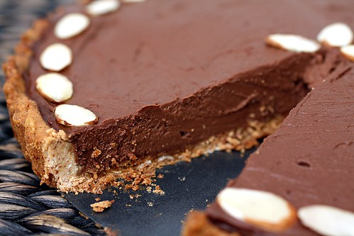 sliced chocolate pie