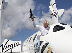 Sir Richard Branson introduces LauncherOne to the world. Photo by Mark Chivers.