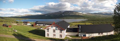 sky panorama house lake norway norge hjerkinn opplandfylke dovrekommune