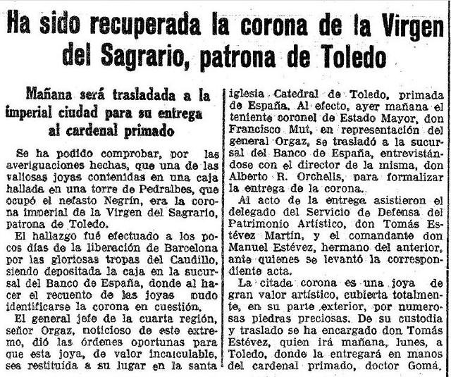 Noticia de la recuperación de la corona de la Virgen del Sagrario. La Vanguardia, 20 de agosto de 1939