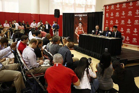 July 19th, 2012 - Jeremy Lin answers questions from the Houston media at Toyota Center