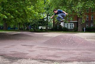 James Kick flip at London fields skatepark