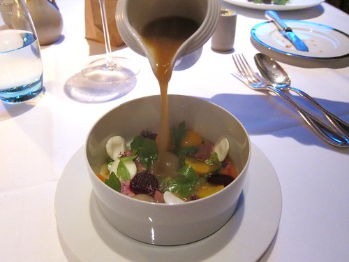 Stew -  Broth of brisket of beef with vegetables, rabbit kidney, egg and lovage