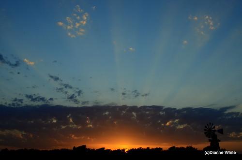 blue sunset orange windmill clouds landscape texas waco sunrays d7000