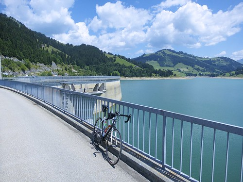 Cycling Across Barrage de l'Hongrin