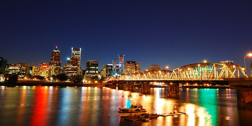 bridge sunset summer skyline oregon portland landscape lights boat twilight dock downtown sundown dusk hawthornebridge pdx willametteriver willamette lightstreaks