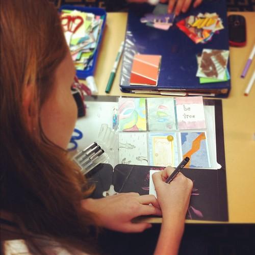 artist trading card making #neuc #northeastunschoolingconference #unschooling #ATC