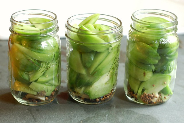 Green tomatoes packed in jars, awaiting brine by Eve Fox, Garden of Eating blog, copyright 2012