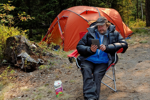 Reading in front of the Exped Pegasus, Lolo National Forest, MT