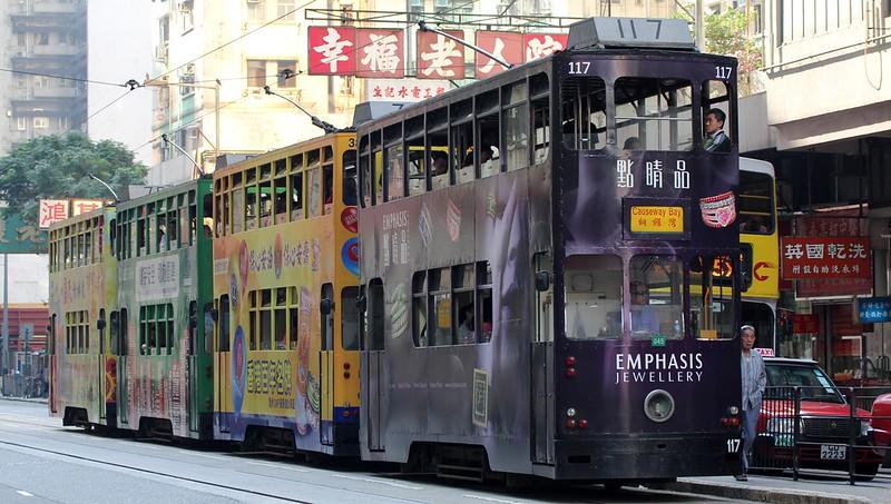 4 Hong Kong Trams back to back