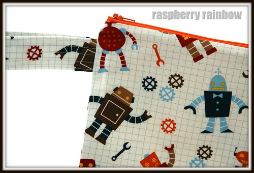 Happy Robots fabric zippered pouch.